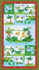 I Spy Amazon Cotton Quilt fabric by Northcott Panel Monkey Alligator Bugs Birds