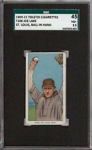 Rare 1909-11 T206 Joe Lake Ball In Hand Tolstoi Back St Louis SGC 45 / 3.5 VG +