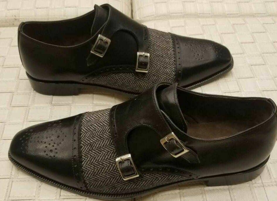 Hombre Cuero Genuino Negro Hecho a Mano & Tela Doble Monje Correa Formal Zapatos