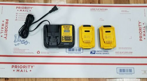 {2} DEWALT DCB203 20-Volt MAX Compact  Lithium-Ion Battery And DCB112 Charger