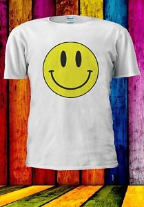 Acid-Smiley-Face-Yellow-House-Rave-Music-70-039-s-80-039-s-Men-Women-Unisex-T-shirt-914