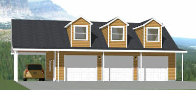 Alarm 40x30 3-car Garage With Carport -- 1,894 Sqft -- Pdf Floor Plan -- Model 10a