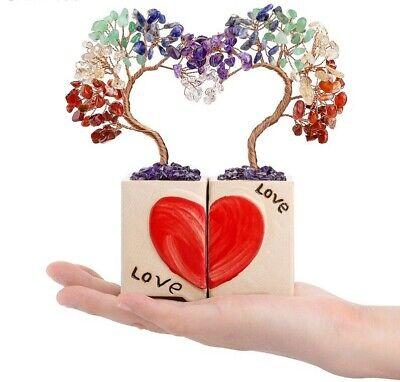 Money Tree Feng Shai Ornaments Heart Shape Crystal Bonsai Tree Gemstones Plant Ebay