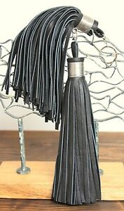 "XL 8/""LONG HANDMADE USA MURKA BLACK GENUINE LEATHER TASSEL KEY BAG CHARM FOB RING"