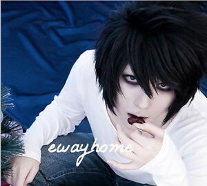 Death Note L Lawliet Short Layered Black Hair Cosplay Costume Anime Full Wig Ebay