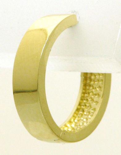 Single Gold Creole Herren Klappcreole Ohrring 585 Gelbgold 14K NEU 15,1 mm Durch