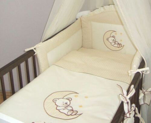 3 Pce Baby Cot Cotbed Bumper Set Duvet Cover Pillowcase Bear Moon Embroidery
