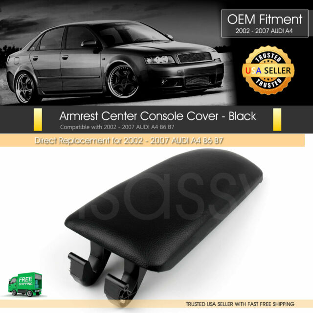 Armrest Console Cover//Lid fit for Audi A6 A4 S4 Black Leather B6 C5