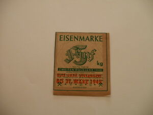 1 x VSE Eisenmarke 5 Kg gültig bis 31 März. 1949, Talon Gutschein - Deutschland - 1 x VSE Eisenmarke 5 Kg gültig bis 31 März. 1949, Talon Gutschein - Deutschland