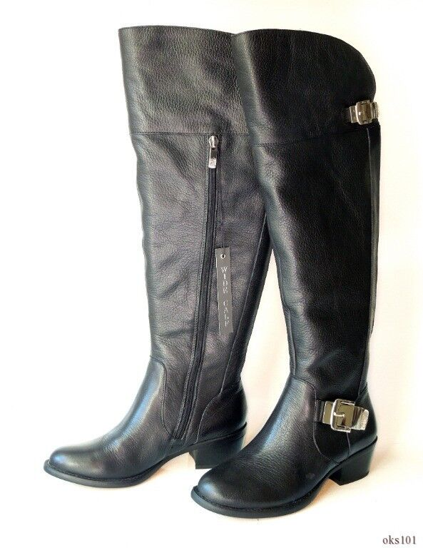 New VINCE CAMUTO Bocca Bocca Bocca schwarz leather buckled TALL riding Stiefel 5 - wide calf fit 5a7e60