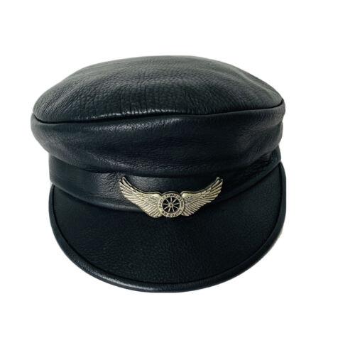 HARLEY DAVIDSON  Black Leather Captain  Riders Cap
