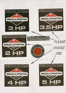Briggs & Stratton Black Vintage Minibike Repro Engine Decals