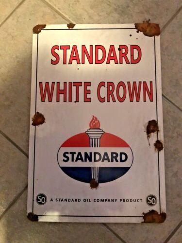 nice! Antique style-barnfind look Standard oil white crown dealer gas pump sign