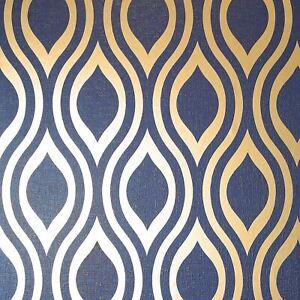 Luxe-Ogee-Peint-en-Marine-Dore-par-arthouse-910203-Metallique-Geometrique