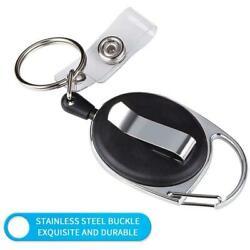 Black Carabiner Retractable Reel Tag Holder Badge Clip Holder Lanyard New X6G7