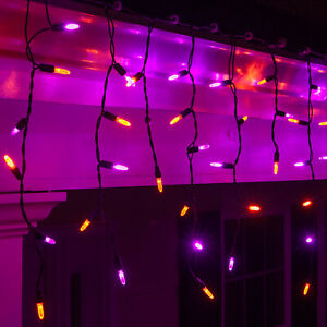 70-LED-Halloween-Icicle-Lights-Purple-Orange-Black-Wire-7-5ft-Home-Party-Decor