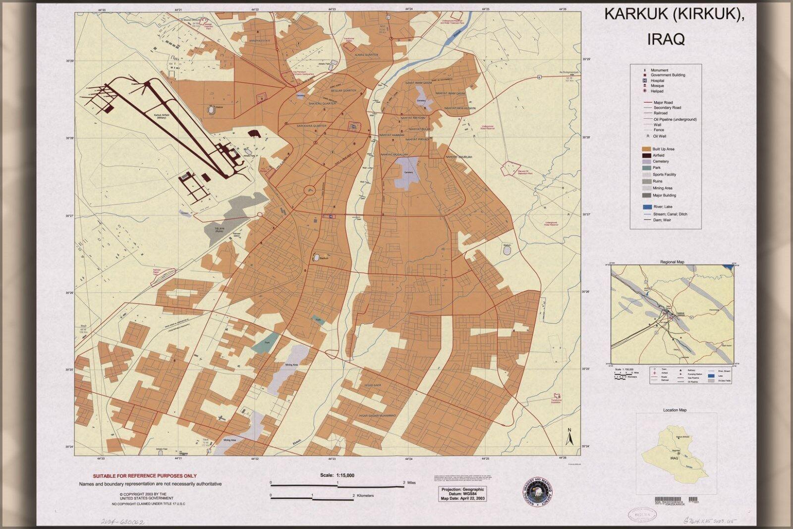 Plakat, Viele Größen; Karte von Karkuk Kirkuk, Irak