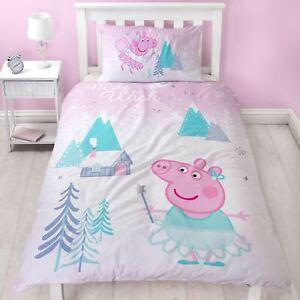 Peppa-pig-Sugarplum-Housse-Couette-Simple-Set-Reversible-Stars-Neige-Fairy-Kids