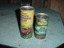 VINTAGE NOS CLASSIC TRANSMISSION SEALER & STOP LEAK TIN CANS 70s 80s LOT OF 2