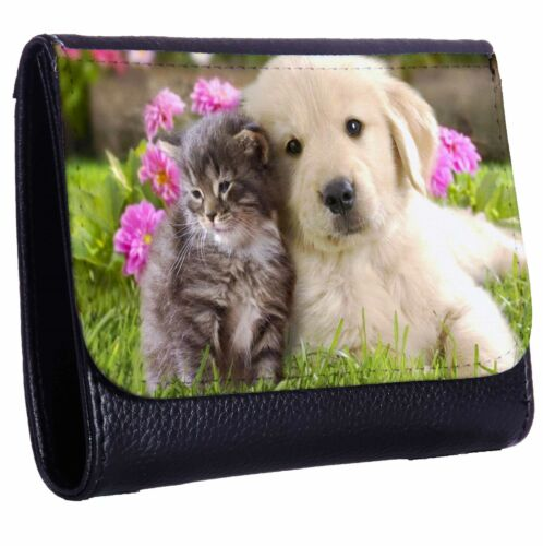 Golden Retriever Puppy And Kitten Tri-Fold Wallet w// Button Pocket