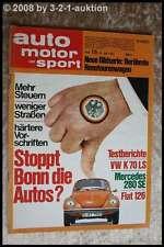 AMS Auto Motor Sport 15/73 VW K 70 LS BMW 2002 Fiat 126 DB 280 SE