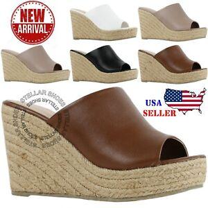 2a7a2482a78 Details about NEW Women Sandals Summer Wedge Platform Heel Espadrille  Sandal Straw Platform