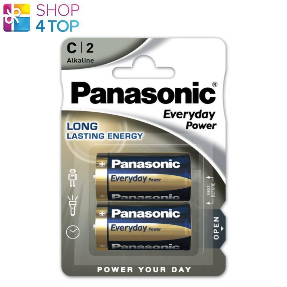 2 panasonic c batteries alkaline power everyday long lasting energy 2bl 1.5v