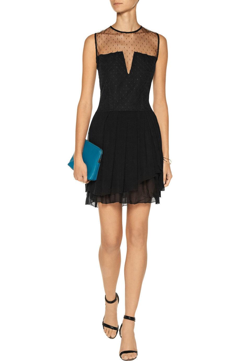 NWT MAJE  Elphage  Mesh Silk Crepe Dress   SZ 1 XS Lace Tulle Dot schwarz