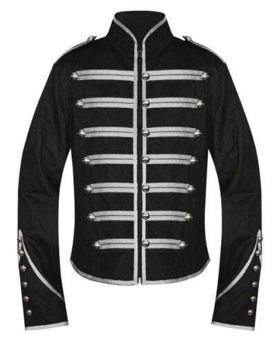 Unisex Gothic Steampunk Silver Parade Military Marching Band Jacket Punk Emo