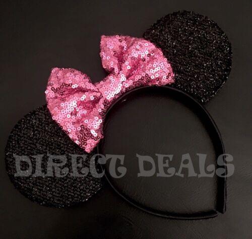Minnie Mouse Ears Headband Shiny Black Sparkly Pink Mauve Bow Birthday