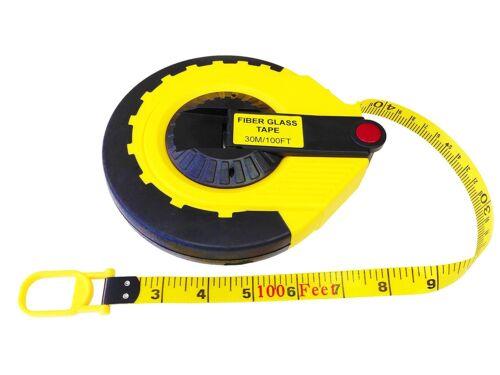 30 Meter 100/' Feet Foot Closed Reel Fiberglass Long Tape Measuring Ruler Tool