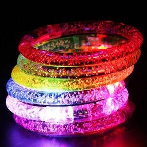 10pcs Led Flashing Bracelet Light Up Acrylic Wristband Party Bar Christmas Luminous Bracelet Luminous Toys For Children Lights & Lighting