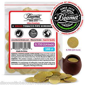 100-Beamer-Brass-Metal-Tobacco-Smoking-Pipe-Screens-750-034-3-4-034-Comp2-Glass-Steel