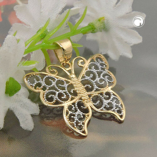375 colgantes de oro remolques 17x20mm mariposa filigrana bicolor 9kt oro.