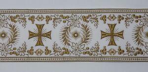 Orphrey-Vintage-Croce-Design-Olivish-Color-Oro-su-Bianco-Bendaggio-11-4cm-Ampio