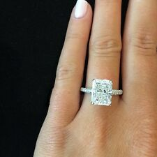 3.60 Ct Natural Radiant Cut Micro Pave Diamond Engagement Ring - GIA Certified