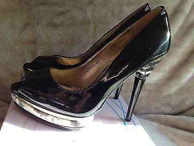 Señoras tamaño 6 Multi Peep Toe De Zapatos Con Peto Croc talón En Negro Y Lila