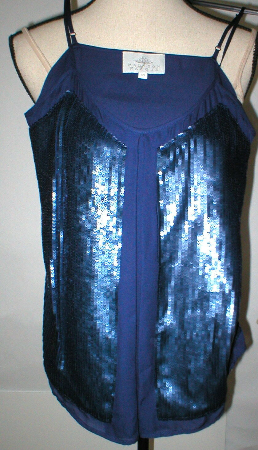 New damen Designer Madison Marcus Silk Sequin Blouse Top Cami XS Dark Blau Tank