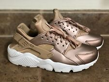 NIKE WOMEN'S AIR HUARACHE RUN PREMIUM SZ  6 AA0523-200 Metallic ROSE GOLD