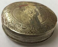 Antique Solid Silver Hallmarked Dutch Pill / Snuff Box Decorative 5cm Diameter