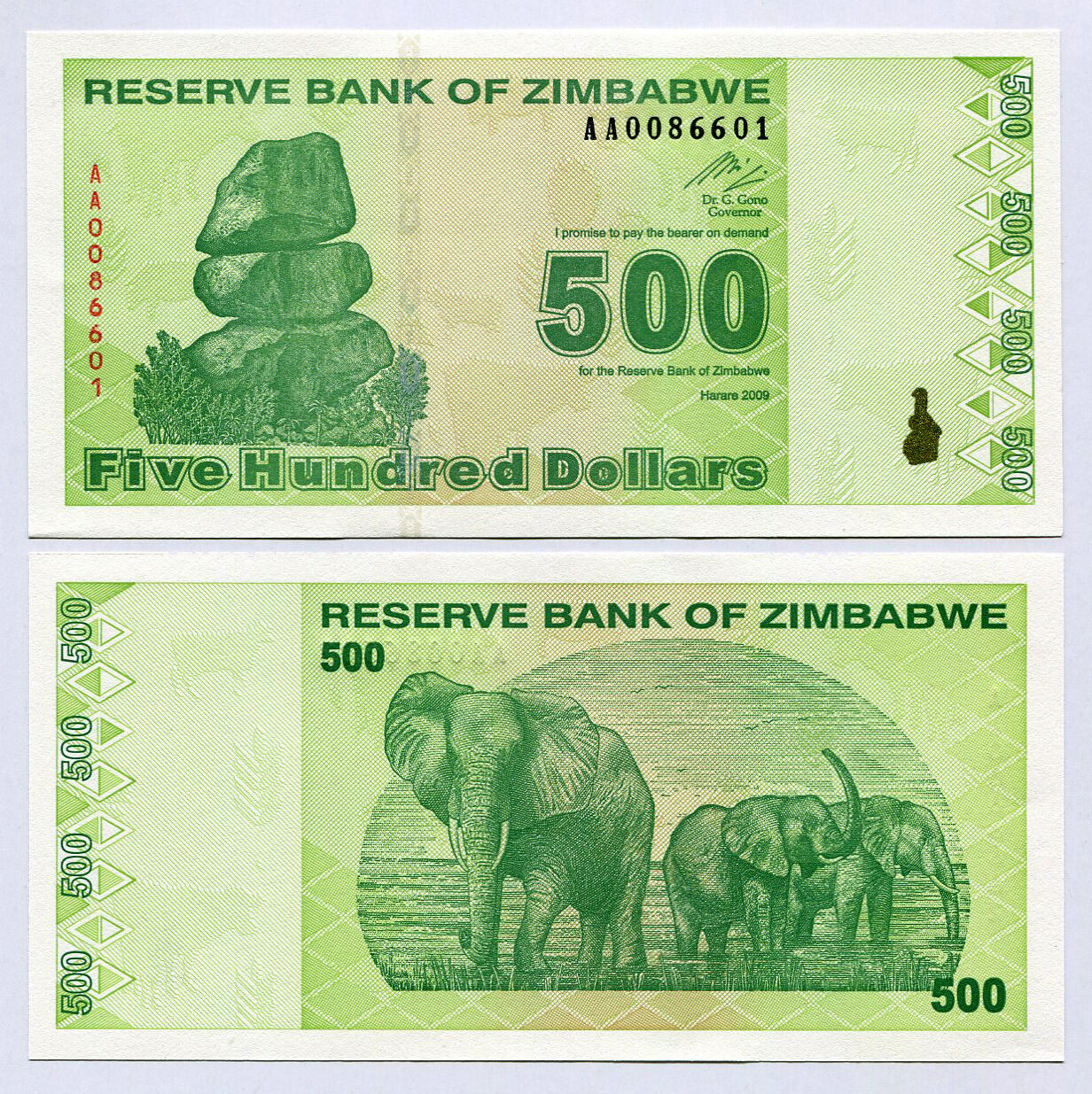 1 x Zimbabwe 500 Dollar banknote-2009//P-98 currency
