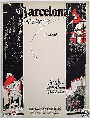 """1926 """"BARCELONA"""" ART COVER SHEET MUSIC"""