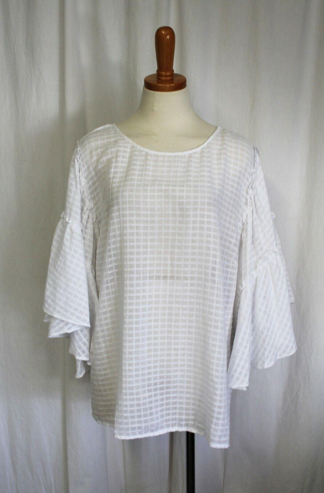 VInce Camuto Texturot Grid Ruffle Drop Shoulder Blouse Top Weiß 2X Plus