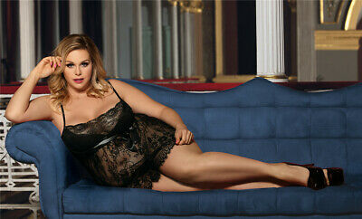 Lovely Black Lace Babydoll Nightie With Satin Trim - Sizes 8-26