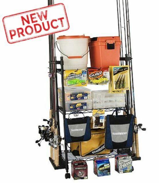 Fishing Rod Organizer Rack Reel Pole Tackle Box Hook Storage Home Gear Trolley