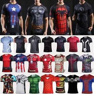 Marvel Herren Sport T Shirt Superhelden Kurzarm Fahrrad Casual