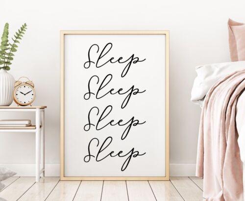 Sleep Bedroom Decor Sign Gallery Wall Art Poster Print Black Baby Nursery Gift