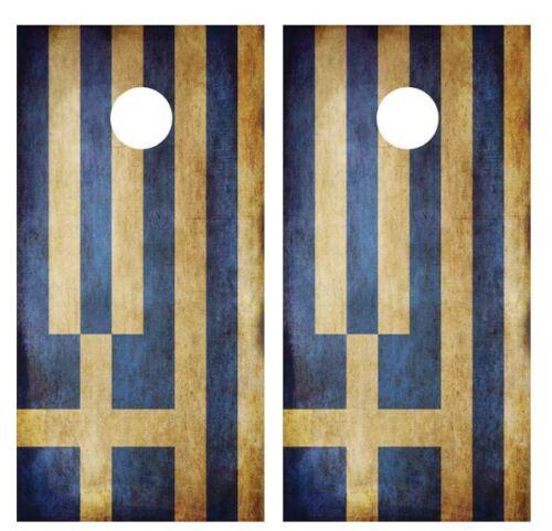 Grunge Greek Flag Cornhole Board Game Wraps FREE SQUEEGEE #1779