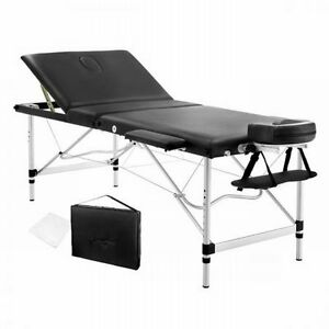 NEW-75cm-Wide-Portable-Aluminium-Frame-3-Fold-Massage-Table-Chair-Bed-Black