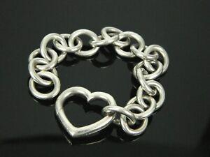 Tiffany-amp-Co-Open-Heart-Clasp-925-Sterling-Silver-Oval-Link-5-5-034-Bracelet